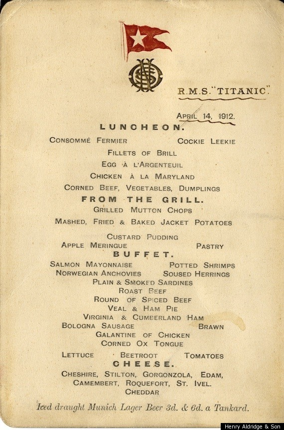 from oysters to gruel the last meals on the titanic