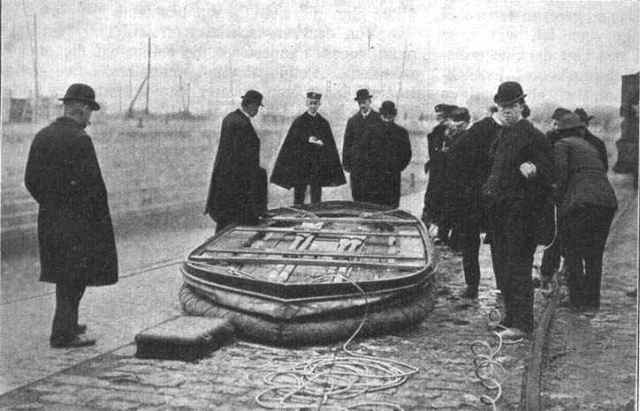 collapsible lifeboat folded away