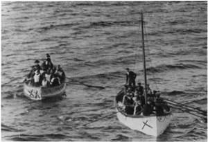 titanic boats approaching carpathia
